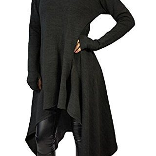 Felicity Young Womens Irregular Hem Double Slit Loose Long Sleeve Hooded Sweater Tunic Dress