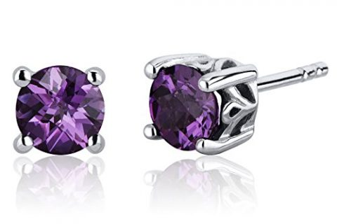 Scroll Design 2.50 Carats Simulated Alexandrite Round Cut Stud Earrings Sterling Silver