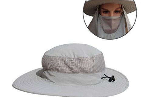 Sun Protection Clothing – Fishing Hat With Removable Mask and Shawl Wide Brim Cap – Bucket Hat With Neck Protection Gray – V-RULE Sun Hat