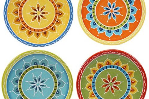 Certified International Valencia Canape Plates Set of 4, 6.25″, Multicolor
