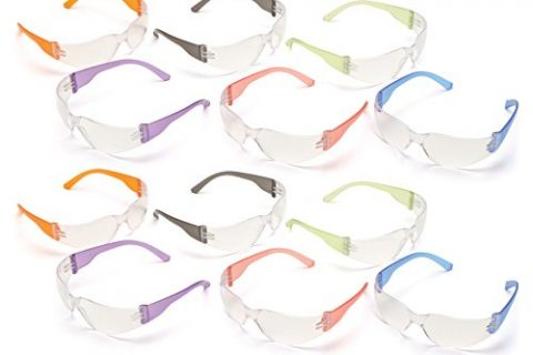 Pyramex S4110SMP Intruder Safety Glasses 12 Pack, Clear Lens with Assorted Temple Colors