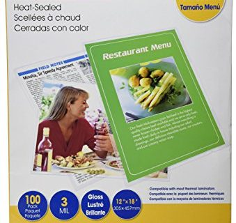 Royal Sovereign Heat Sealed Laminating Pouches 3 Mil Menu Size Clear Gloss 100 Pack RF03MENU0100