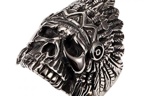 PAURO Cool Feather Dayak Indian Headdress Punk Skull Stainless Steel Mens Boys Ring Size 11