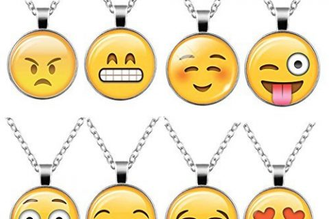 HOPIE 8pcs Emoji Pendant with Chain Cute Necklace for women