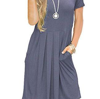 AUSELILY Women's Short Sleeve Pockets Pleated Loose Swing T-Shirt Dress Purple Gray L