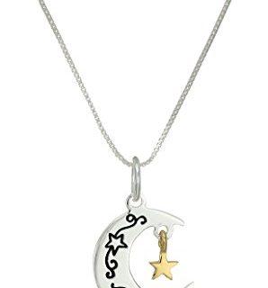 Two-Tone Sterling Silver and Gold over Sterling Silver Moon and Star Sentiment Pendant Necklace, 18″