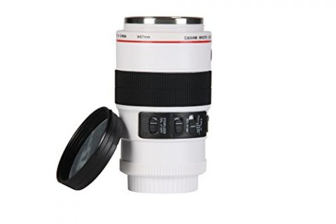 Modern Day Living Stainless Steel Camera Lens Coffee Mug with Attractive Design Insulated Cup with Easy Clean Lid – 13.5oz for Thermos Travel Coffee or Tea