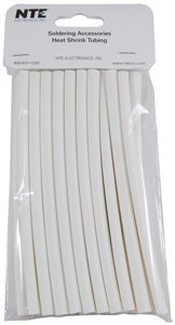 NTE Electronics 47-20506-W Heat Shrink Tubing, Thin Wall, 2:1 Shrink Ratio, 1/4″ Diameter, 6″ Length, White Pack of 20