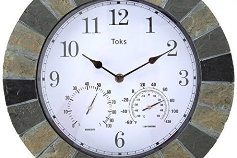 Lily's Home Hanging Wall Clock, Includes a Thermometer and Hygrometer and is Ideal for Indoor and Outdoor Use, Faux-Slate 14 Inches