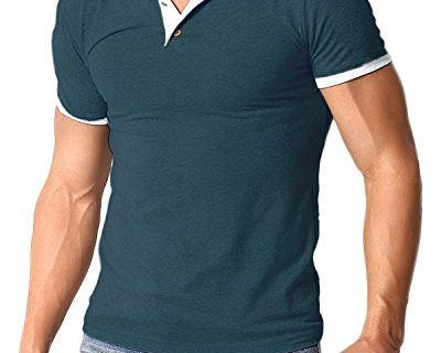 MODCHOK Men's Polo Shirt Short Sleeve T Shirts Cotton Tee Button Slim Fit Tops Navy Green L