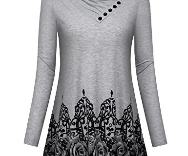 Gaharu Ladies Top, Women's Long Sleeve Button Cowl Neck Rose Floral Printed Casual Office Tunic Shirt Blouse Medium,Grey