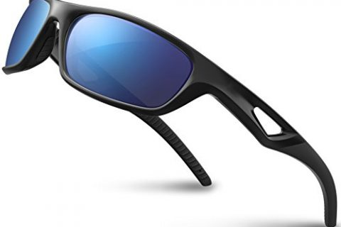 RIVBOS Polarized Sports Sunglasses Driving Glasses for Men Women Tr90 Unbreakable Frame for Cycling Baseball Running Rb831 Black&Black Mirror Lens
