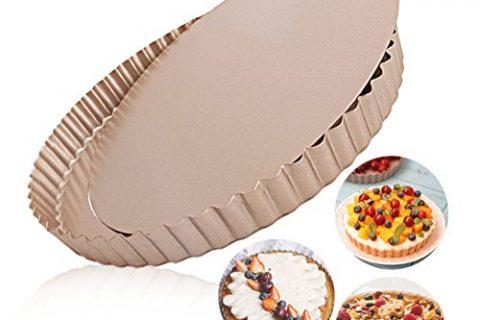 LUFEIYA Tart Pan Round Nonstick 9.5 inch Removable Loose Bottom Quiche Pie Pan Gold