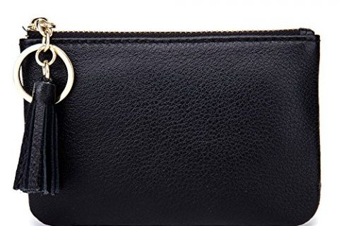 Aladin Wide Coin Change Purse Wallet with Key Ring & Leather Tassels Zip Tab