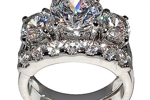 5 Ct. Bold Past Present & Future Style Cubic Zirconia Cz Bridal Round-shaped Center Stone Is 2.75 Cts