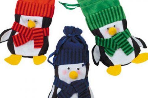 Felt Penguin Drawstring Winter Christmas Holiday Gift Bags 1 dz