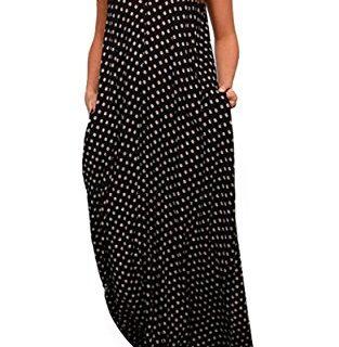 LILBETTER Women Boho Backless Long Maxi Evening Party Dress Beach Sundress Black,M