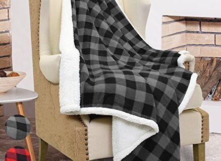 "Catalonia Plaid Sherpa Throw Blanket Reversible Soft Warm Snuggle Micro Fleece Plush Throws for Bedding Couch TV 60"" x 50""Black"