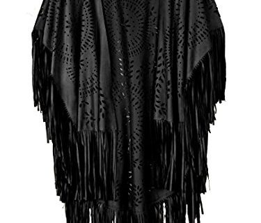 PERSUN Women's Faux Suede Kimono Cape Fringed Asymmetric Cover up Shawl