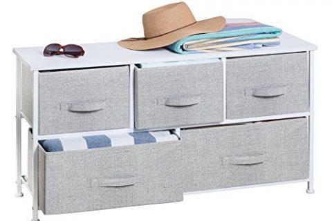 Gray – mDesign Fabric 5-Drawer Storage Organizer Unit for Entryway, Mudroom, Hallway