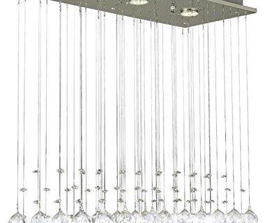 Saint Mossi Chandelier Modern K9 Crystal Raindrop Chandelier Lighting Flush mount LED Ceiling Light Fixture Pendant Lamp for Dining Room Bathroom Bedroom Livingroom 3 GU10 Bulb Required H33″ W10″ L25″