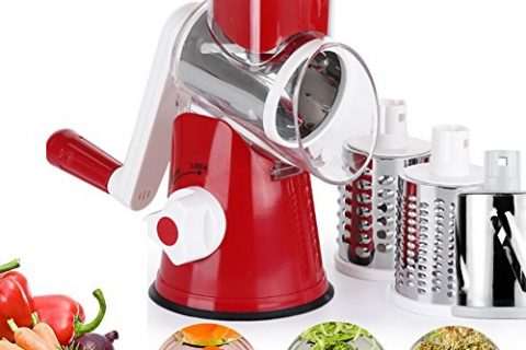 Vegetable Mandoline Chopper,Upintek 3-Blades Manual Vegetable Slicer,Efficient and Fast Vegetable Fruit Cutter Cheese Shredder, Speedy Rotary Drum Grater Slicer with Strong-Hold Suction CupRed