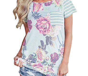 Alvaq Women Summer Casual Short Sleeve Floral Striped Tshirt Work Blouses Tunic Tops ,BlueUS20-22XX-Large