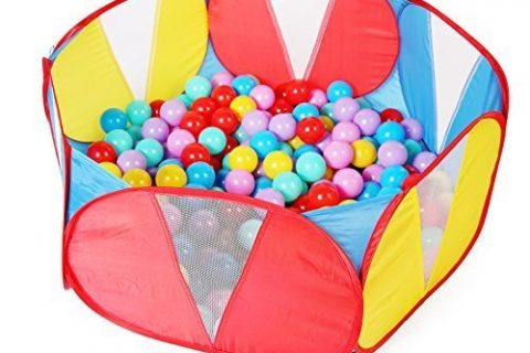 TRUEDAYS Kids Ball Pit Playpen for Toddlers, 35.4 inch with Storage Bag, Red Blue,No Balls