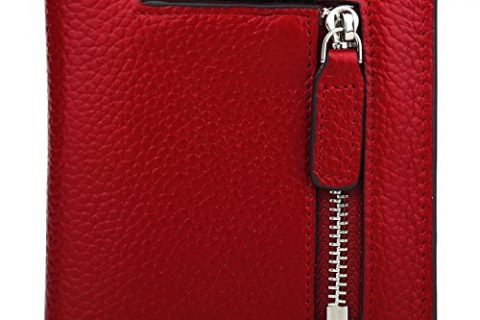 RFID Blocking Wallet Women's Small Compact Bifold Leather Purse Front Pocket Mini Wallet Wine Red