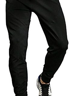TBMPOY Men's Athletic Running Sport Jogger Pants with Zipper PocketsBlack,us M