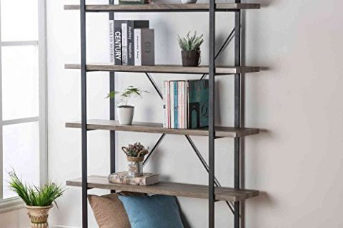 HSH Furniture 5-Shelf Vintage Industrial Rustic Bookshelf, Wood and Metal Bookcase, Open Etagere Book Shelf, Dark Oak