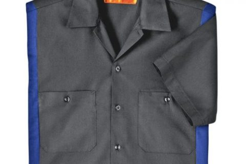 Dickies Occupational Workwear LS524CHRB 5XL Polyester/Cotton Men's Short Sleeve Industrial Color Block Shirt, 5X-Large, Dark Charcoal/Royal Blue