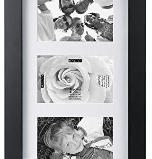 Malden International Designs Berkeley Matted Black Wood Collage Picture Frame, 3 Option, 3-4×6, Black