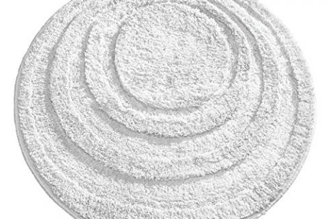 mDesign Soft Microfiber Polyester Non-Slip Round Spa Mat, Plush Water Absorbent Accent Rug for Bathroom Vanity, Bathtub/Shower, Concentric Circle Design, Machine Washable – 24″ diameter, Pure White