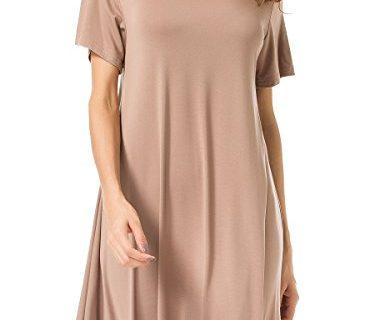 JollieLovin Women's Tunic Top Casual Short Sleeve Swing Loose T-Shirt Dress Khaki, 1X