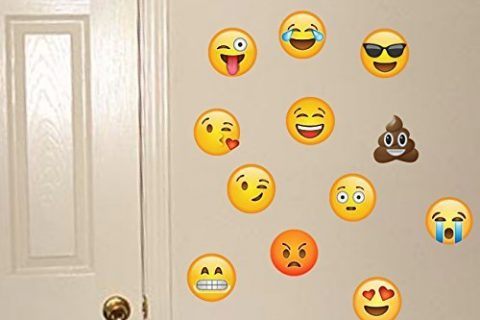 Emoji Wall Decals – Removable Reusable Peel & Stick – Made of FABRIC Not Vinyl – 12 Large Yellow Emojis Sticker – Graphic Poop, Smiley, Cool, Happy Faces Like Keyboard Icons – 6″