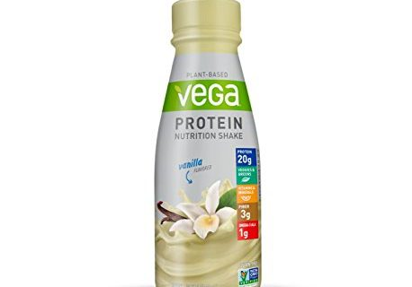 Vega Protein Nutrition Shake Vanilla 11 Fluid Ounce Pack of 12 – Ready to Drink, Plant Based Vegan Protein, Gluten Free, Non Dairy, Soy Free, Vitamins, Non GMO
