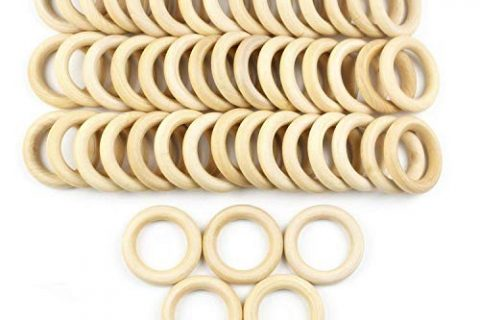 JPSOR 50 Pcs 2.2″ Natural Wood Rings Circles Unfinished Wood for DIY Pendant Connectors Jewelry Making