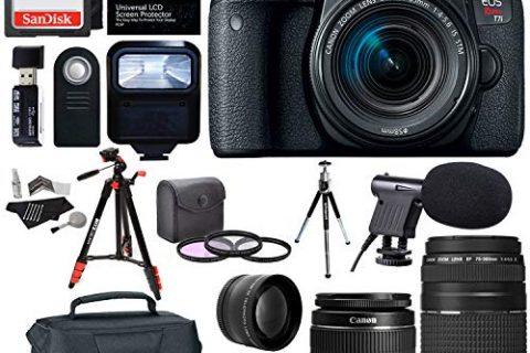 Canon EOS Rebel T7i EF-S 18-55 is STM Kit, EF 75-300mm III, SanDisk 64GB, XIT Wide Angle, Telephone Lens, Polaroid 48″ Tripod and Accessory Bundle