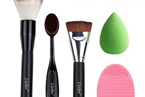Makeup Brush, Oval Toothbrush Curve Foundation Brush, Flat Contour Makeup Brush, Brush Cleaner Washing Brush Glove Scrubber Board, Flawless Cosmetic Sponge Puff – 5 PCS Makeup Tools By Lizber