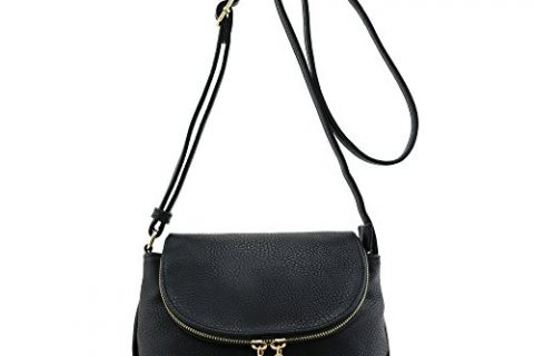 Tassel Accent Small Half Moon Crossbody Bag Black