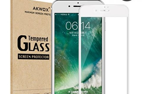Pack of 2 Screen Protector for iPhone 7 Plus 8 Plus, Akwox Full Cover for iPhone 7 Plus 8 Plus Tempered Glass Screen Protector with ABS Curved Edge Frame White