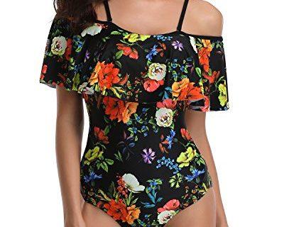 Tempt Me Women One Piece Flounce Swimsuit Flower Printed Off Shoulder Bathing Suit Floral XXL