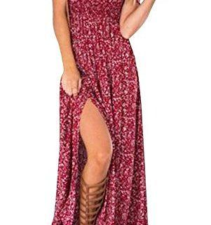Walant Women Summer Boho Off Shoulder Long Maxi Casual Dress Slit Split RedLargeRed