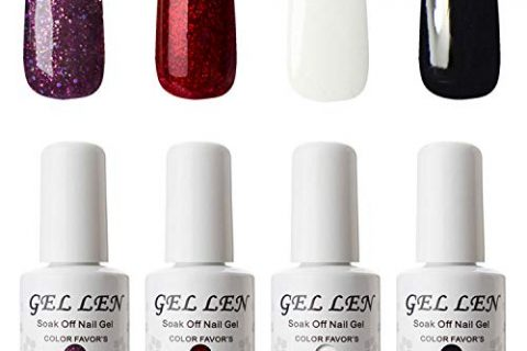 Classic Black Pure White Sparkle Purple Flame Red, Gel Manicure Set – Gellen Gel Nail Polish 4 Colors Set