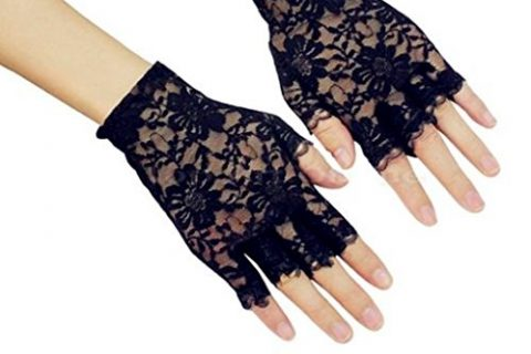 DreamHigh Women Wrist Length Lace Half Finger Gloves