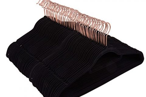 Juvale 50 Pack Black Velvet Hangers – Non Slip Hangers with Rose Gold Hooks and Accessory Bar – Thin Hangers – Non Slip Hangers, Black, 17.5 x 9.2 x 0.2 Inches