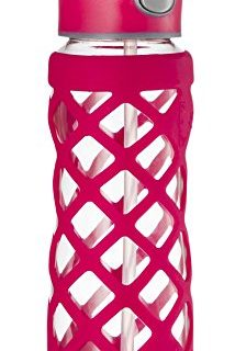 Protective Silicone Sleeve with 3 Interchangeable Leak-Proof Caps Sleek, Durable & Stylish – PBA Free – Break Resistant Borosilicate Glass Pink,1 Pack – SWIG SAVVY 25oz Glass Water Bottle