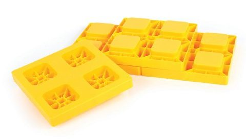 Camco Heavy Duty Leveling Blocks, Ideal For Leveling Single and Dual Wheels, Hydraulic Jacks, Tongue Jacks and Tandem Axles 4 pack