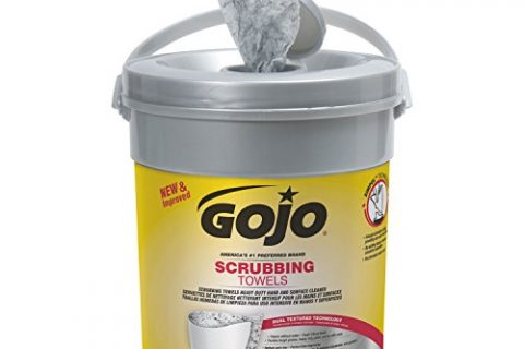 GOJO 639606 Scrubbing Towels, Hand Cleaning, Fresh Citrus,10 1/2×12 1/4, 72/Canister,6/Crtn
